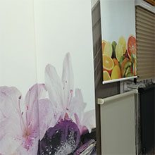 Foto de dos estores instalados por toldos narcea con su producto de estor